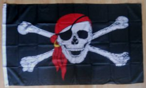 Pirate Red Bandana Large Flag - 5' x 3'.